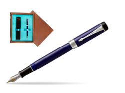 Parker Duofold Classic Blue & Black Centennial CT Fountain Pen  single wooden box  Mahogany Single Turquoise