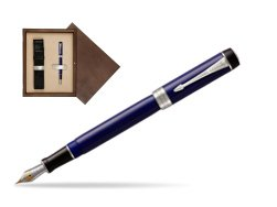 Parker Duofold Classic Blue & Black Centennial CT Fountain Pen  single wooden box  Wenge Single Ecru