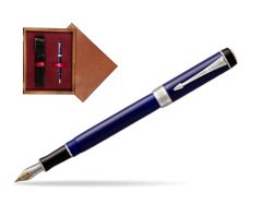 Parker Duofold Classic Blue & Black International CT Fountain Pen  single wooden box Mahogany Single Maroon