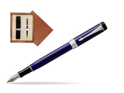 Parker Duofold Classic Blue & Black International CT Fountain Pen  single wooden box  Mahogany Single Ecru