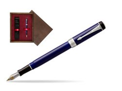 Parker Duofold Classic Blue & Black International CT Fountain Pen  single wooden box  Wenge Single Maroon