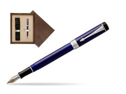 Parker Duofold Classic Blue & Black International CT Fountain Pen  single wooden box  Wenge Single Ecru