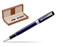 Parker Duofold Classic Blue & Black CT Rollerball Pen  in classic box brown