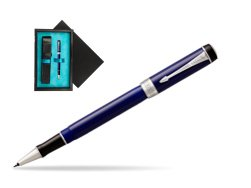 Parker Duofold Classic Blue & Black CT Rollerball Pen  single wooden box  Black Single Turquoise