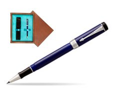 Parker Duofold Classic Blue & Black CT Rollerball Pen  single wooden box  Mahogany Single Turquoise