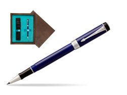 Parker Duofold Classic Blue & Black CT Rollerball Pen  single wooden box  Wenge Single Turquoise