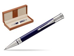 Parker Duofold Classic Blue & Black CT Ballpoint Pen  in classic box brown