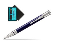 Parker Duofold Classic Blue & Black CT Ballpoint Pen  single wooden box  Black Single Turquoise