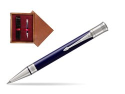 Parker Duofold Classic Blue & Black CT Ballpoint Pen  single wooden box Mahogany Single Maroon