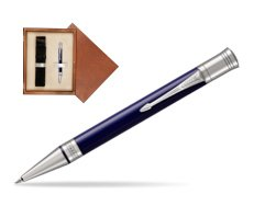 Parker Duofold Classic Blue & Black CT Ballpoint Pen  single wooden box  Mahogany Single Ecru