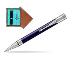 Parker Duofold Classic Blue & Black CT Ballpoint Pen  single wooden box  Mahogany Single Turquoise