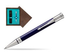 Parker Duofold Classic Blue & Black CT Ballpoint Pen  single wooden box  Wenge Single Turquoise