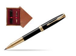Parker Sonnet Premium Black Lacquer GT Rollerball Pen  single wooden box Mahogany Single Maroon