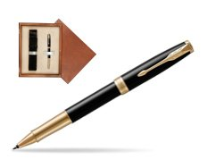 Parker Sonnet Premium Black Lacquer GT Rollerball Pen  single wooden box  Mahogany Single Ecru