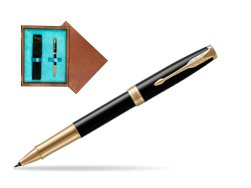 Parker Sonnet Premium Black Lacquer GT Rollerball Pen  single wooden box  Mahogany Single Turquoise
