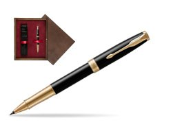 Parker Sonnet Premium Black Lacquer GT Rollerball Pen  single wooden box  Wenge Single Maroon
