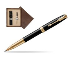 Parker Sonnet Premium Black Lacquer GT Rollerball Pen  single wooden box  Wenge Single Ecru