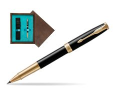 Parker Sonnet Premium Black Lacquer GT Rollerball Pen  single wooden box  Wenge Single Turquoise