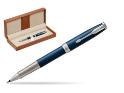 Parker Sonnet Premium Subtle Blue CT Rollerball Pen  in classic box brown