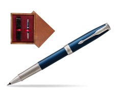 Parker Sonnet Premium Subtle Blue CT Rollerball Pen in single wooden box Mahogany Single Maroon
