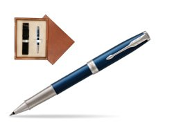 Parker Sonnet Premium Subtle Blue CT Rollerball Pen in single wooden box  Mahogany Single Ecru