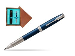 Parker Sonnet Premium Subtle Blue CT Rollerball Pen in single wooden box  Mahogany Single Turquoise