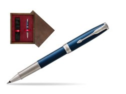 Parker Sonnet Premium Subtle Blue CT Rollerball Pen in single wooden box  Wenge Single Maroon