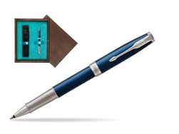 Parker Sonnet Premium Subtle Blue CT Rollerball Pen in single wooden box  Wenge Single Turquoise