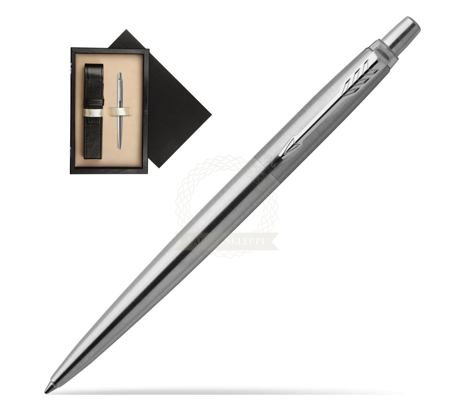 GIFT BOX GENUINE PARKER CLASSIC STAINLESS STEEL BALL POINT PEN SILVER TRIM