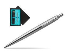 Parker Jotter Stainless Steel Chrome Colour Trim Ballpoint Pen  single wooden box  Black Single Turquoise