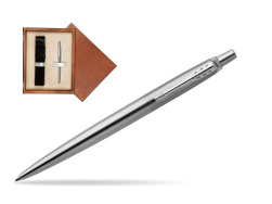 Parker Jotter Stainless Steel Chrome Colour Trim Ballpoint Pen  single wooden box  Mahogany Single Ecru