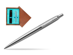 Parker Jotter Stainless Steel Chrome Colour Trim Ballpoint Pen  single wooden box  Mahogany Single Turquoise