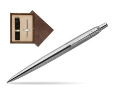 Parker Jotter Stainless Steel Chrome Colour Trim Ballpoint Pen  single wooden box  Wenge Single Ecru