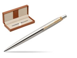 Parker Jotter Stainless Steel Golden Finish Trim Ballpoint Pen  in classic box brown