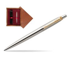 Parker Jotter Stainless Steel Golden Finish Trim Ballpoint Pen  single wooden box Mahogany Single Maroon