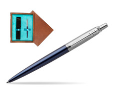 Parker Jotter Royal Blue Chrome Colour Trim Ballpoint Pen  single wooden box  Mahogany Single Turquoise