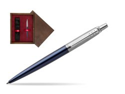 Parker Jotter Royal Blue Chrome Colour Trim Ballpoint Pen in single wooden box  Wenge Single Maroon