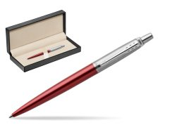 Parker Jotter Kensington Red Chrome Colour Trim Ballpoint Pen  in classic box  pure black