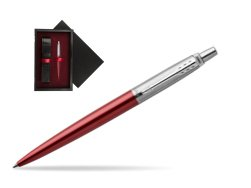 Parker Jotter Kensington Red Chrome Colour Trim Ballpoint Pen  single wooden box  Black Single Maroon
