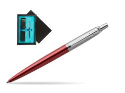 Parker Jotter Kensington Red Chrome Colour Trim Ballpoint Pen  single wooden box  Black Single Turquoise