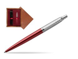 Parker Jotter Kensington Red Chrome Colour Trim Ballpoint Pen  single wooden box Mahogany Single Maroon