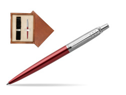 Parker Jotter Kensington Red Chrome Colour Trim Ballpoint Pen  single wooden box  Mahogany Single Ecru