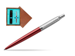 Parker Jotter Kensington Red Chrome Colour Trim Ballpoint Pen  single wooden box  Mahogany Single Turquoise