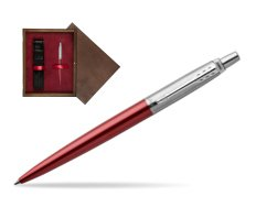 Parker Jotter Kensington Red Chrome Colour Trim Ballpoint Pen  single wooden box  Wenge Single Maroon