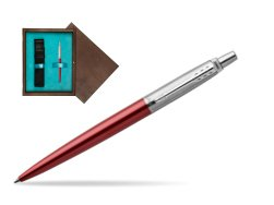 Parker Jotter Kensington Red Chrome Colour Trim Ballpoint Pen  single wooden box  Wenge Single Turquoise