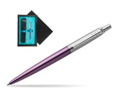 Parker Jotter Victoria Violet Chrome Colour Trim Ballpoint Pen  single wooden box  Black Single Turquoise
