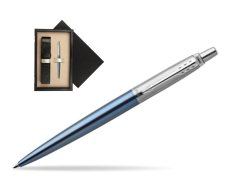 Parker Jotter Waterloo Blue Chrome Colour Trim Ballpoint Pen  single wooden box  Wenge Single Ecru