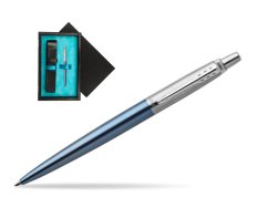 Parker Jotter Waterloo Blue Chrome Colour Trim Ballpoint Pen  single wooden box  Black Single Turquoise