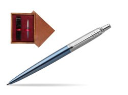 Parker Jotter Waterloo Blue Chrome Colour Trim Ballpoint Pen  single wooden box Mahogany Single Maroon