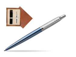 Parker Jotter Waterloo Blue Chrome Colour Trim Ballpoint Pen  single wooden box  Mahogany Single Ecru